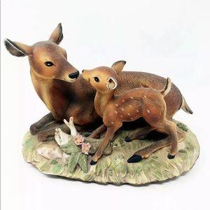 VIntage 70's Homco Porcelain Doe & Fawn Figurine